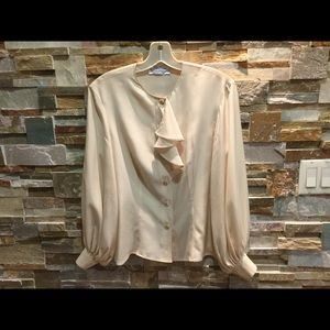MaxMara Silk Blouse with Puffy sleeves.